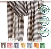 ANATURES Hamamdoek XL HOLIDAY 95x190 cm   Hamam strandlaken, Badlaken, Sauna handdoek, Fouta pareo, Yoga handdoek   Fair Trade – Biologische katoen   Donkergrijs