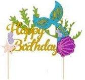 Zeemeermin Taart Decoratie - Caketopper Happy Birthday - Taarttopper Verjaardag