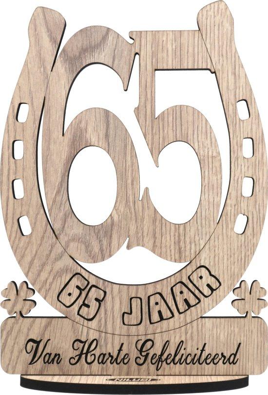 VIJFENZESTIG JAAR - houten verjaardagskaart - kaart van hout - wenskaart om iemand te feliciteren met een verjaardag - 65