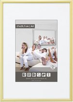 Halfronde Aluminuim Wissellijst - Fotolijst - 60x70 cm - Helder Glas - Mat Goud - 10 mm