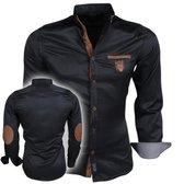 Megaman - Heren Overhemd met Suede Elleboogstukken - Zwart