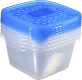 Curver Take Away Vershouddozen - Vierkant - 5x 1,1 l - Transparant/Blauw