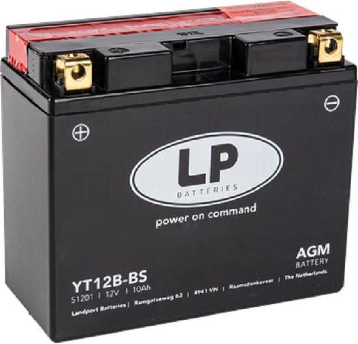 Landport AGM Motor & Scooter accu YT12B-BS   12V / 10AH / 140CCA