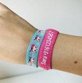 Sos armband| Armband elastiek met telefoonnummer - 20 cm - Schoolkinderen - Roze en blauw - Jongens en meisjes