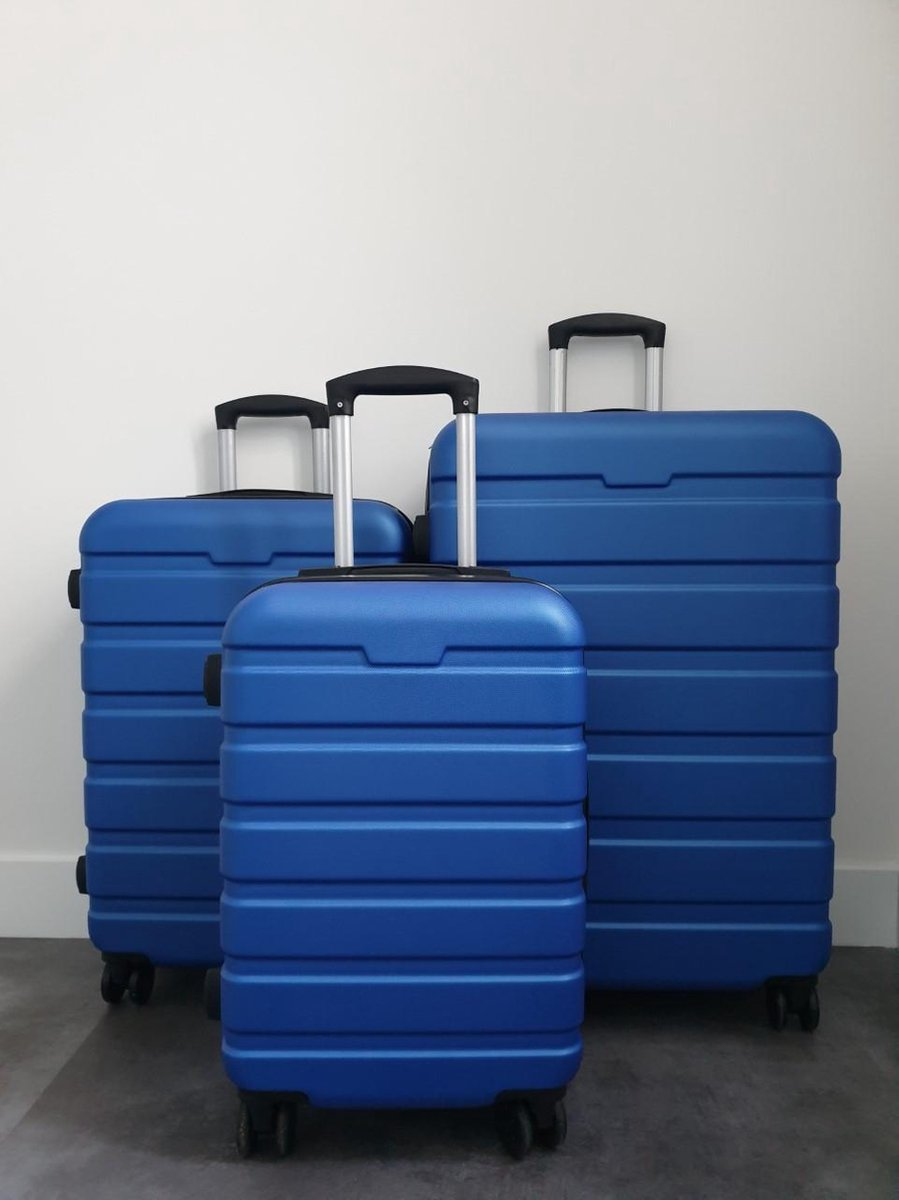 3-Delige harde kofferset ABS - Blauw kopen