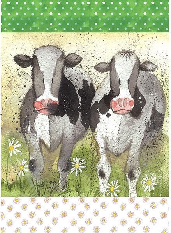 Alex Clark Theedoek Koeien ~ Curious Cows