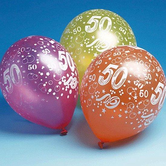 10x stuks gekleurde 50 jaar verjaardag ballonnen - Feestartikelen en versieringen