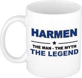Naam cadeau Harmen - The man, The myth the legend koffie mok / beker 300 ml - naam/namen mokken - Cadeau voor o.a  verjaardag/ vaderdag/ pensioen/ geslaagd/ bedankt