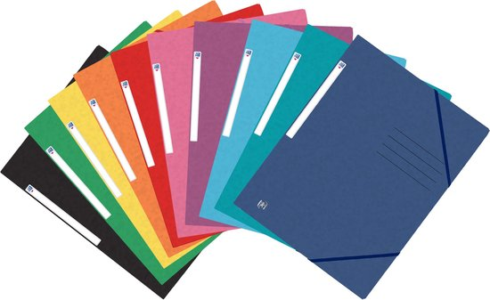 Oxford Top File + - elastomap - 3 kleppen - elastiek - A4 - assorti classic -...