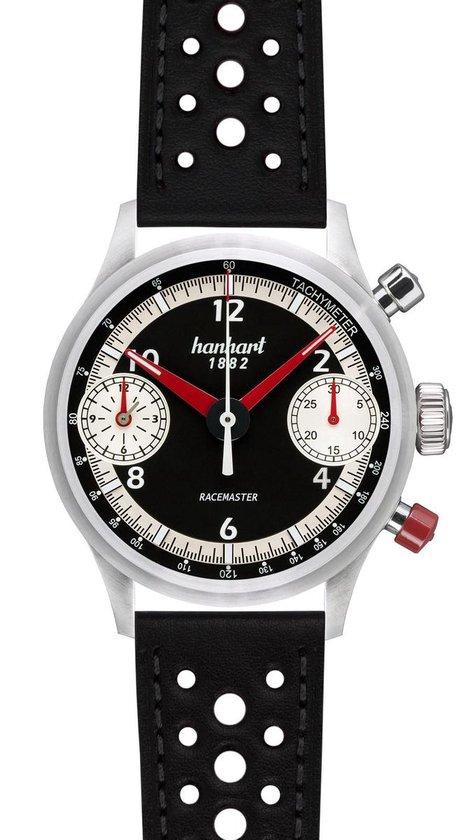 Hanhart Racemaster GT Horloge Wit, zwarte band