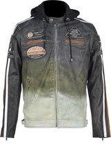 Urban Leather Fifty Eight Leren Motorjas Heren - Zwart Beige - Maat 5XL