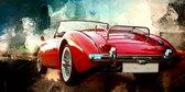 JJ-Art | Klassieke auto MG, MGA in rood met abstract schilderij als achtergrond | oldtimer, Engeland, jaren 50 – 60 | Foto-Schilderij print op Canvas (canvas wanddecoratie) | KIES JE MAAT