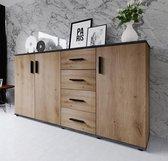 AZ-Home - Dressoir Stiv 160 cm - Commode - Kast - Donkergrijs - Eiken