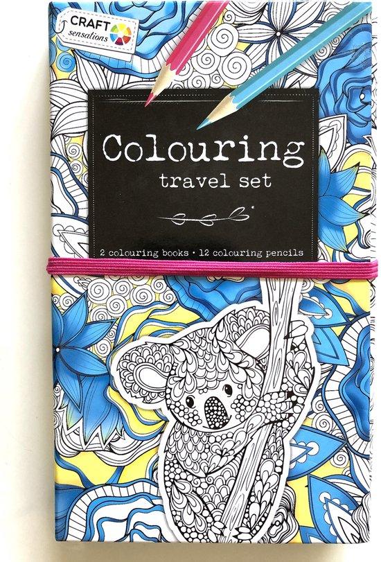 Afbeelding van Kleurboek Voor Volwassenen Reisset 2 Kleurboeken 60 Kleurplaten En 12 Potloden