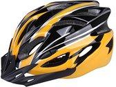 Fietshelm, Unisex volwassen fiets racefiets fietshelm eenvoudige voering die verstelbare is middels een draaiknop (geel)