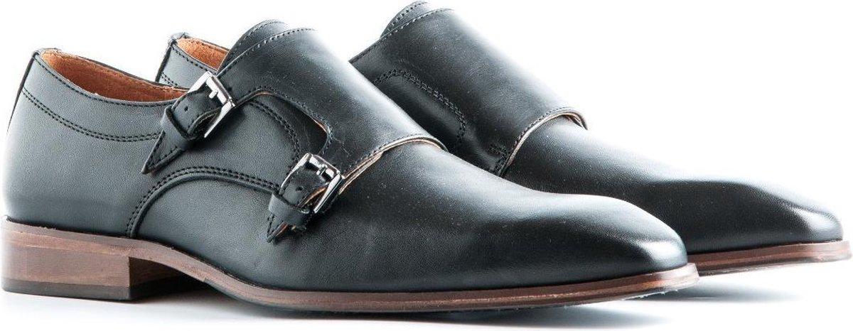 Travelin Luton Leather - Leren instapper met gesp - Zwart - Maat 46