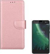 Nokia 2 Portemonnee hoesje Rose Goud met 2 stuks Glas Screen protector