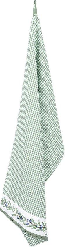 Clayre & Eef | Keukendoek 50*85 cm | Groen | 100% Katoen | rechthoek | ruit en olijftak | OLG42CGR