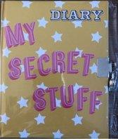 dagboek geel met slot zilver my secret stuff   met witte steretjes 17.5 cm hoog bij 14 cm lang