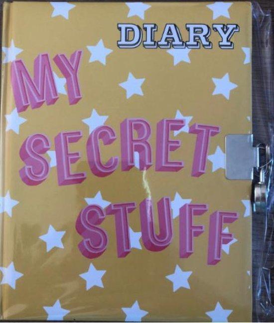 Afbeelding van dagboek geel met slot zilver my secret stuff   met witte steretjes 17.5 cm hoog bij 14 cm lang