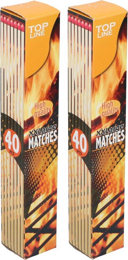 80x Lange barbecue lucifers - 28 cm - voor bbq/ vuurkorf/ kaarsen - XL Aanmaaklucifers
