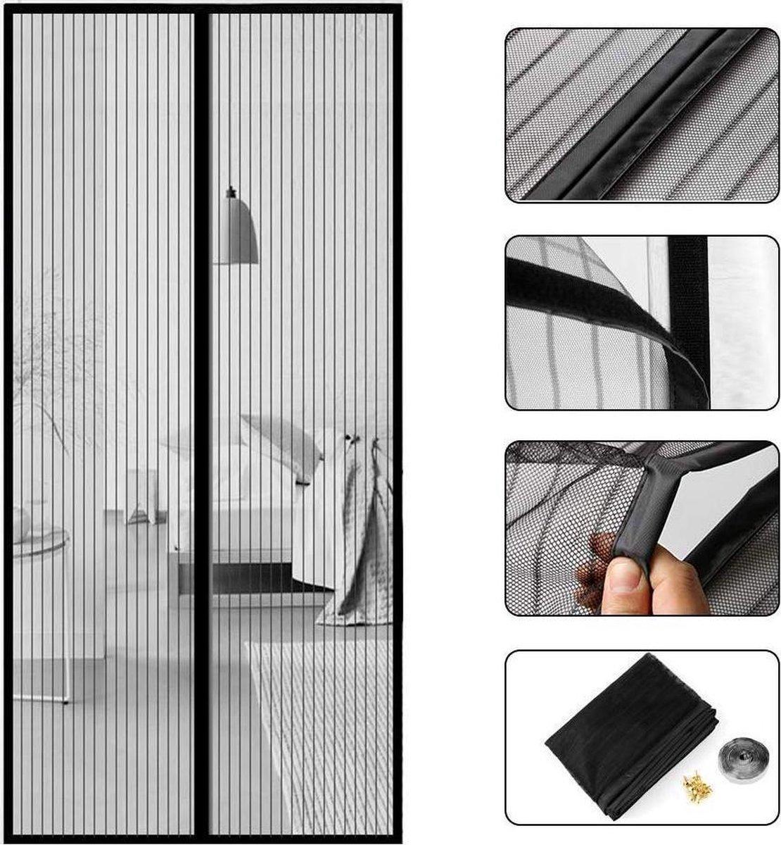 Garden Collection Magnetisch vliegengordijn - (2x) 50x210 cm - Zwart - Deurgordijn - Horgordijn