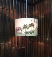 Jungle kamer lamp | Jungle kinderlamp groen giraf, olifant en meer dieren