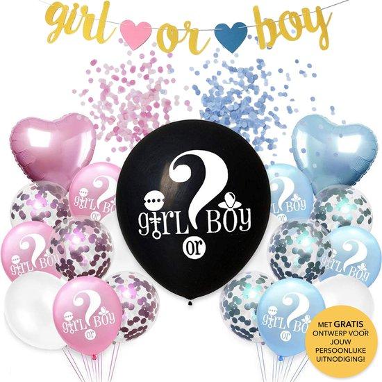 Part Lab Co. Gender Reveal Ballon en Babyshower Versiering - Met GRATIS Uitnodiging - Confetti Ballonnen - Ballonnen Blauw en Roze - Hartjes Ballonnen - Boy or Girl - Gender Reveal Versiering - Geslacht Onthullen - Roze Ballonnen
