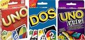 UNO + UNO FLIP! + DOS - SUPER PACK - KAARTSPEL - MATTEL
