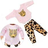 Poppen kleertjes - Roze kleding set met luipaard - Past op pop tot 43CM zoals baby born
