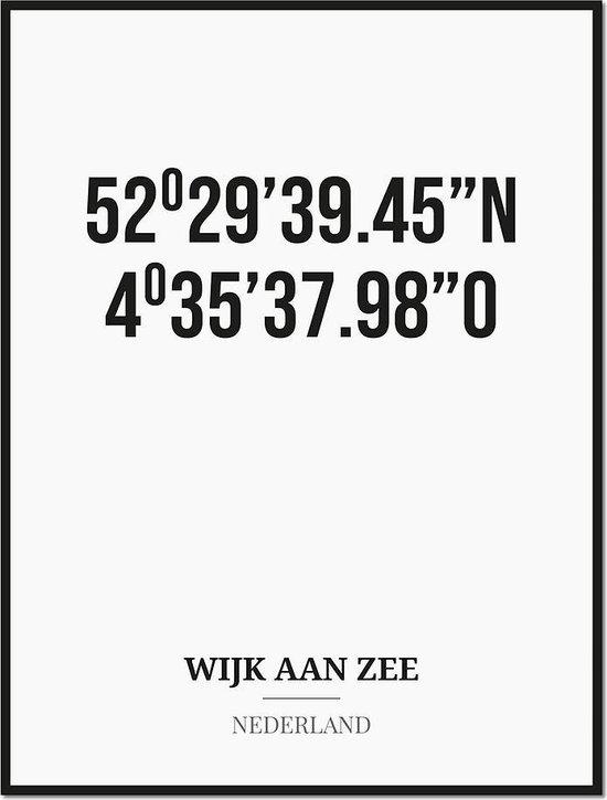 Poster/kaart WIJK AAN ZEE met coördinaten