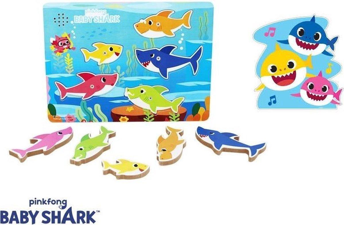 Houten puzzel - Baby Shark Chunky met geluid - 5 delig - Haaien Puzzel