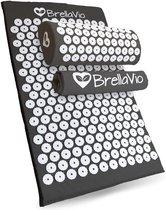 BrellaVio® Spijkermat met Spijkerkussen en Topper - Zwart - 68x42 cm - Acupressuur Mat - Massage Kussen