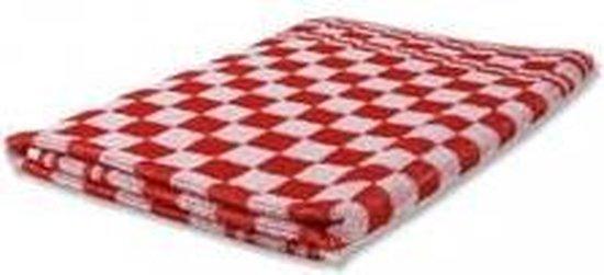 Keukendoek 100% katoen  geblokt rood / wit