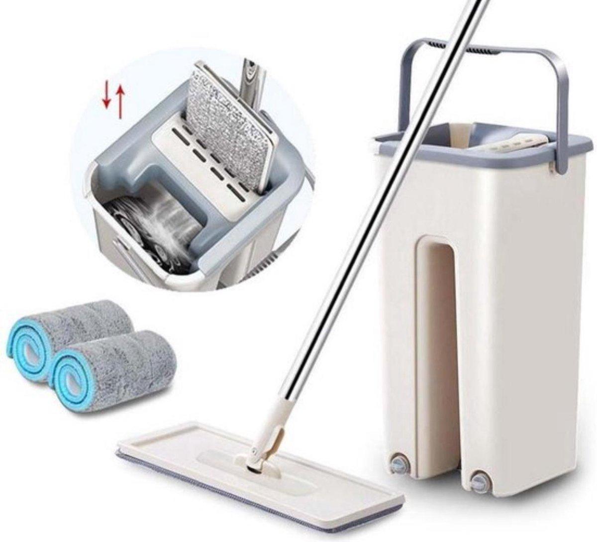 Flat mop inclusief 4 herwasbare pads| Schoonmaak mop | Mopset | mop | kopen