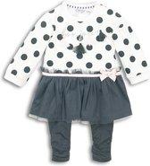 Dirkje - 2 pce Babysuit dress - Off white + dark grey - Vrouwen - Maat 68