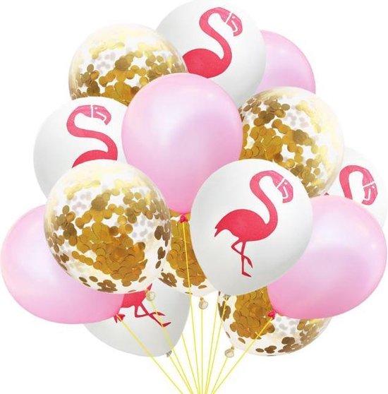 Luxe Ballonnenset Flamingo - wit / roze / gouden confetti - 15 stuks