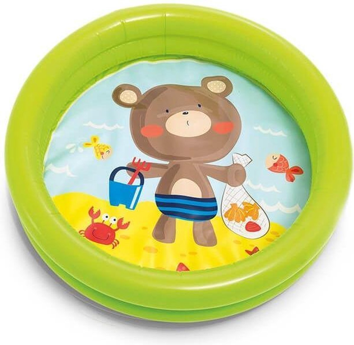 Beer INTEX kinderzwembad - Peuter zwembad - Kinder Zwembad - Baby Zwembad - Kinderzwembad - Zwembadje - Speelzwembad - Buitenzwembad - Opblaas zwembad - Multi design - Groen - Rond - 61 cm x 15 cm - ballenbad
