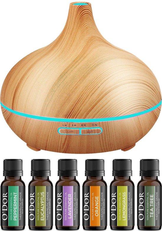 O'dor® Cadeau Set Aroma Diffuser met Extra 6 flesjes Etherische Olie - Vernevelaar - Luchtbevochtiger – Verdamper – Aromatherapie - Geurverspreider - Hout Look