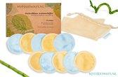10x Blauwe (5) en Gele (5) Luxe Herbruikbare Wattenschijfjes – Bamboe - inclusief Waszakje | Plasticvrije Verpakking - Zero Waste | Wasbare Wattenschijfjes | Duurzame Wattenschijfjes | Make Up Pads