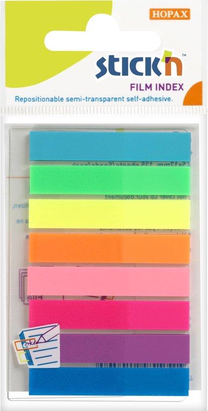Afbeelding van Film Index Stickn 45x8mm, 8x neon assorti kleuren, 160 index