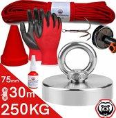 Vismagneet set - 250KG - 30m touw - Handschoenen - Dreghaak - Prikstok adapter - Beschermkap - Magneetvissen starterspakket - Schroefborgmiddel (10 ml)
