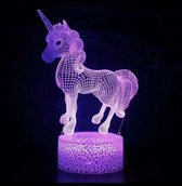 Unicorn 3D Lamp - Tafellamp - Lamp kinderkamer - Nachtlamp - Led
