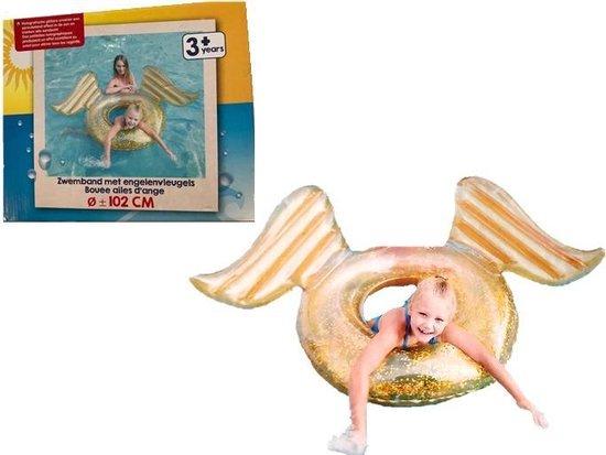 Opblaasbaar donut zwemband met engelenvleugels -  102 cm