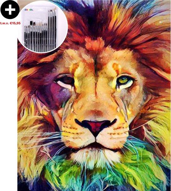 deeds.® - Schilderen op Nummer - Paint by Number - Schilderen op Nummer Volwassenen - Verven op Nummer - DIY - Leeuw - 40x50cm - Extra set Penselen - Abstract - Hobby - Dier - Canvas - Acryl