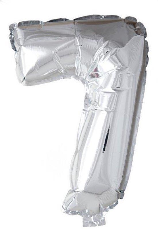 Folieballon 7 jaar zilver 86cm