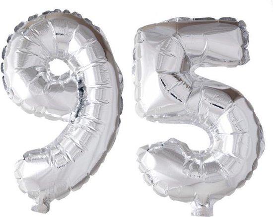 Folieballon 95 jaar zilver 86cm