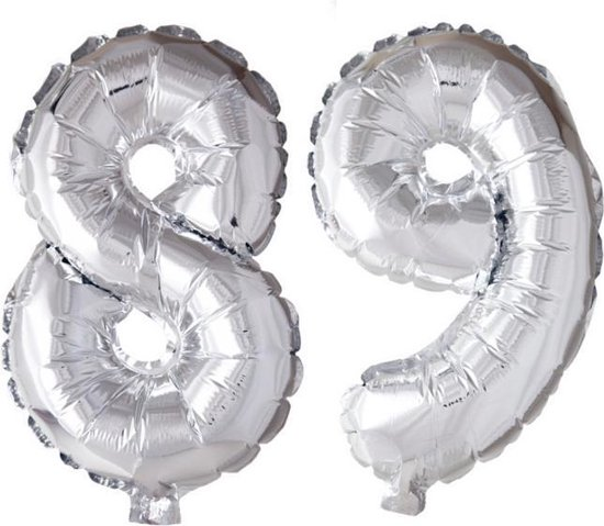 Folieballon 89 jaar zilver 86cm