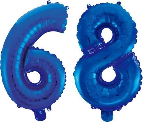 Folieballon 68 jaar blauw 86cm