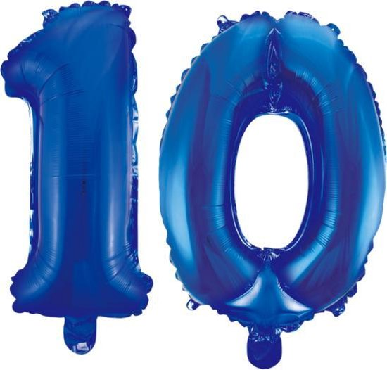 Folieballon 10 jaar blauw 86cm